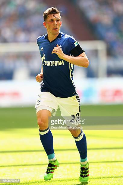 Pierre Emile Hojbjerg of Schalke in action during the Bundesliga match between FC Schalke 04 and FC Augsburg held at VeltinsArena on May 7 2016 in...