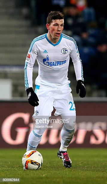 Pierre Emile Hojbjerg of Schalke runs with the ball during the friendly match between Arminia Bielefeld and Schalke 04 at Schueco Arena on January 18...