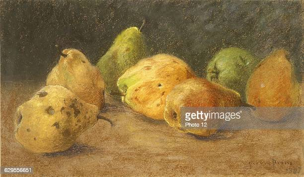 Pierre Ernest PrinsFrench schoolStill life with pearsNature morte aux poires1897Pastel Private collection.