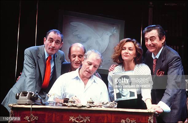 Pierre EtaixBernard HallerJean PoiretCaroline CellierFrancois Perier at Theatre 'L'age de monsieur est avance' in ParisFrance on September 18th1985