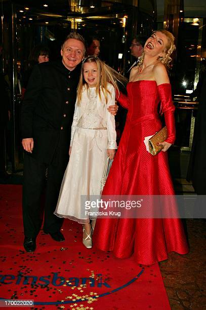 Pierre Franckh with wife Michaela Merten and daughter Julia at the German Film Ball On arrival at the hotel Bayerischer Hof in Munich