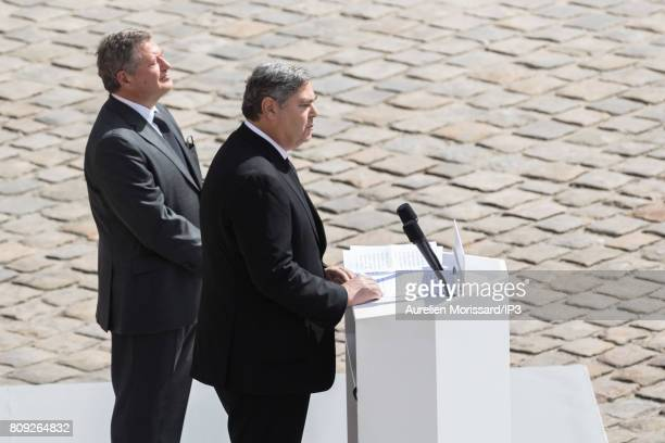 Pierre Francois Veil and Jean Veil deliver a speech during the national tribute to their mother Simone Veil at Hotel des Invalides on July 5 2017 in...