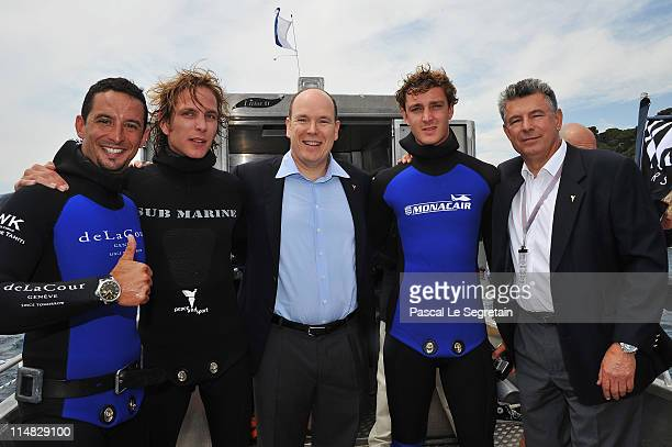 Pierre Frolla Andrea Casiraghi Prince Albert II of Monaco Pierre Casiraghi and Joel Bouzou pose as they attend 'Peace Sport' Operation Poseidon on...