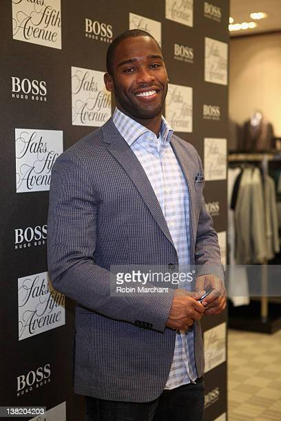 Pierre Garcon at Saks Fifth Avenue Indianapolis for Hugo Boss at Saks Fifth Avenue on February 4 2012 in Indianapolis Indiana