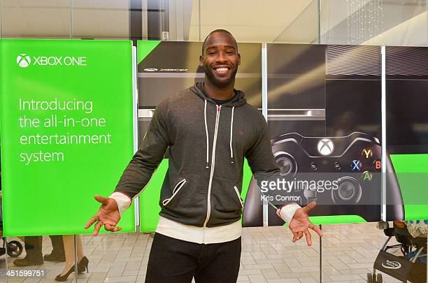Pierre Garcon attends the Xbox One Gaming Tournament at the Microsoft store at Tyson's Corner on November 23 2013 in Tysons Corner Virginia