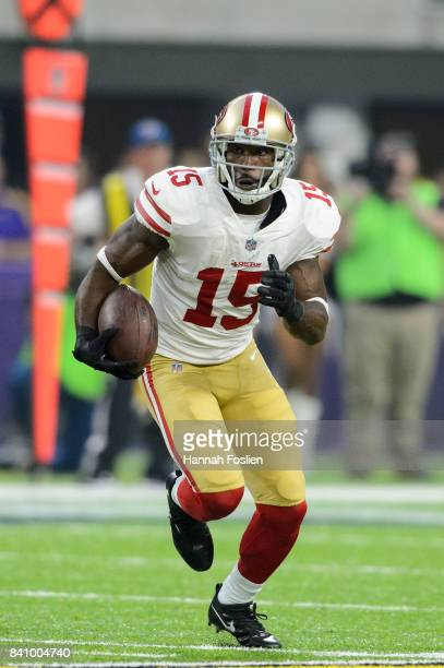Pierre Garcon of the San Francisco 49ers carries the ball against the Minnesota Vikings in the preseason game on August 27 2017 at US Bank Stadium in...