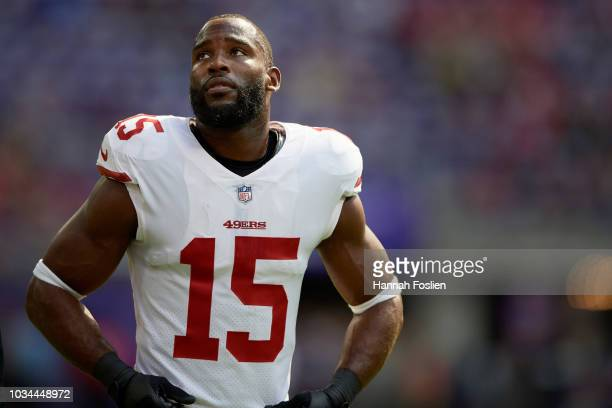Pierre Garcon of the San Francisco 49ers looks on before the game against the Minnesota Vikings on September 9 2018 at US Bank Stadium in Minneapolis...