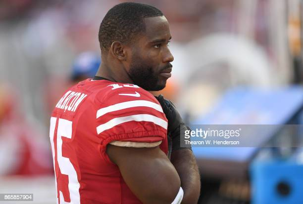 Pierre Garcon of the San Francisco 49ers looks on from the sidelines during their NFL football game against the Dallas Cowboys at Levi's Stadium on...