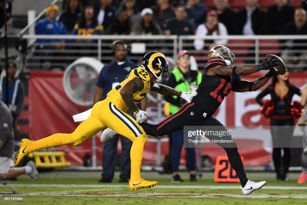 Pierre Garcon #15 of the San Francisco 49ers makes a catch against the Los Angeles Rams during their NFL game at Levi's Stadium on September 21, 2017 in Santa Clara, California.