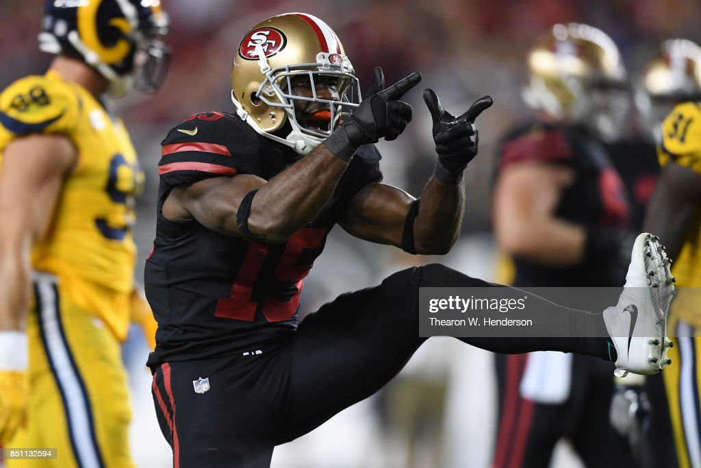 Pierre Garcon #15 of the San Francisco 49ers reacts to a play against the Los Angeles Rams during their NFL game at Levi's Stadium on September 21, 2017 in Santa Clara, California.