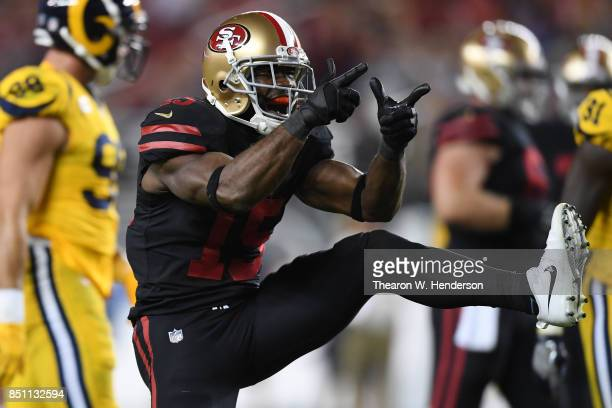 Pierre Garcon of the San Francisco 49ers reacts to a play against the Los Angeles Rams during their NFL game at Levi's Stadium on September 21 2017...