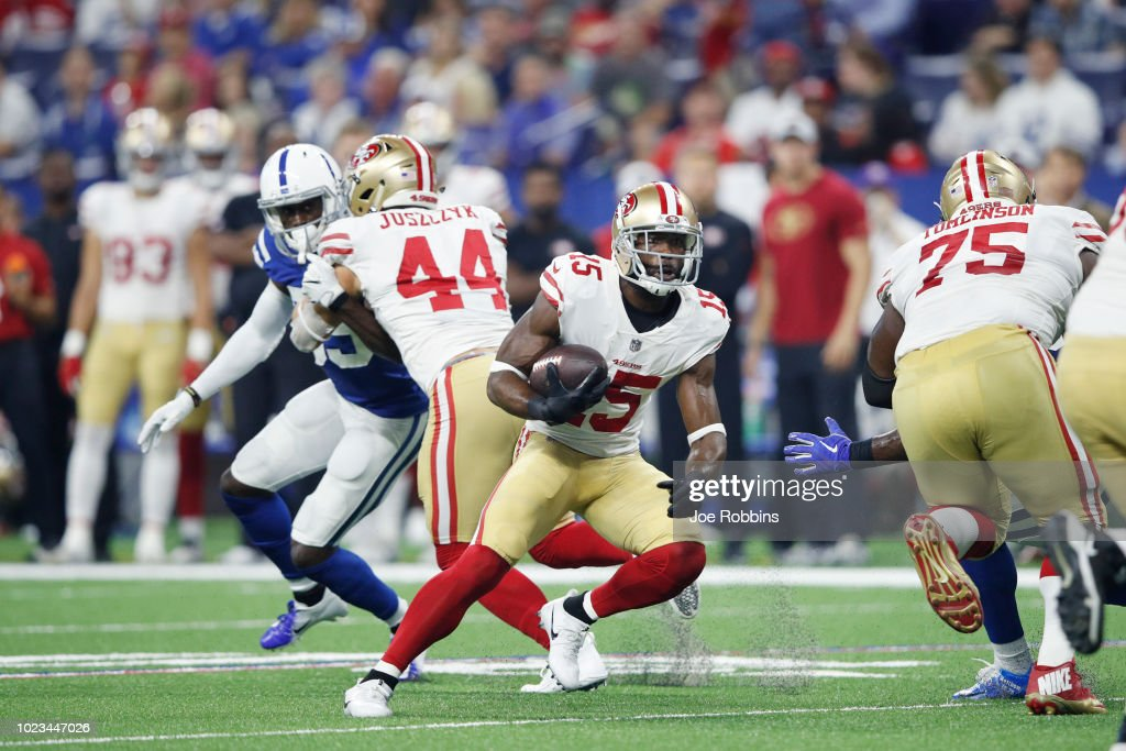 Pierre Garcon #15 of the San Francisco 49ers runs after a reception against the Indianapolis Colts in the second quarter of a preseason game at Lucas Oil Stadium on August 25, 2018 in Indianapolis, Indiana.