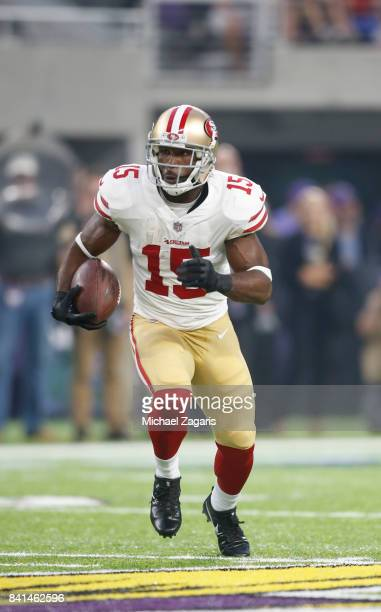 Pierre Garcon of the San Francisco 49ers runs after making a reception during the game against the Minnesota Vikings at US Bank Stadium on August 27...