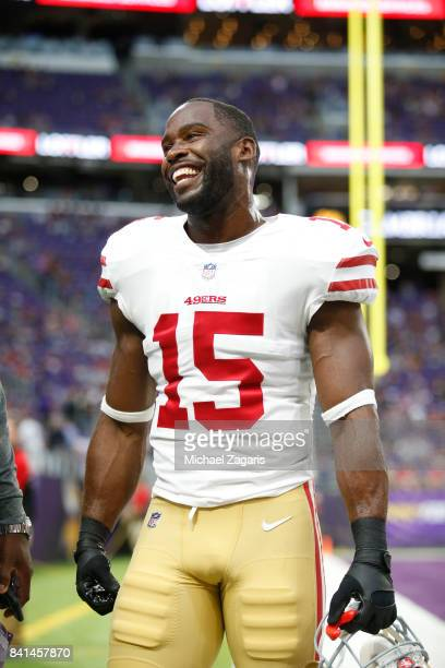 Pierre Garcon of the San Francisco 49ers stands on the field prior to the game against the Minnesota Vikings at US Bank Stadium on August 27 2017 in...
