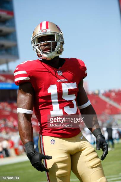 Pierre Garcon of the San Francisco 49ers stands on the field prior to the game against the Carolina Panthers at Levi's Stadium on September 10 2017...