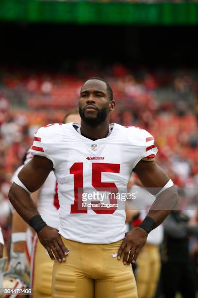 Pierre Garcon of the San Francisco 49ers stands on the sideline prior to the game against the Washington Redskins at FedEx Field on October 15 2017...