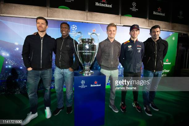 Pierre Gasly of France and Red Bull Racing, 2016 F1 World Drivers Champion Nico Rosberg, Luis Figo, Clarence Seedorf and Xabi Alonso take part in a...