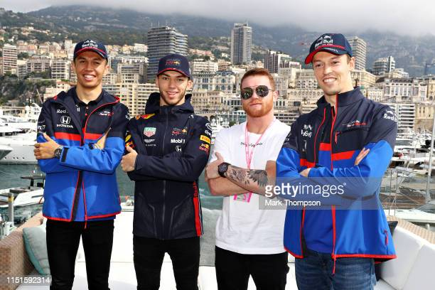 Pierre Gasly of France and Red Bull Racing Daniil Kvyat of Russia and Scuderia Toro Rosso and Alexander Albon of Thailand and Scuderia Toro Rosso...