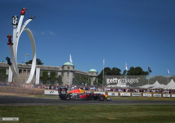 Pierre Gasly of France and Red Bull Racing drives during the Goodwood Festival of Speed at Goodwood on July 2 2017 in Chichester England