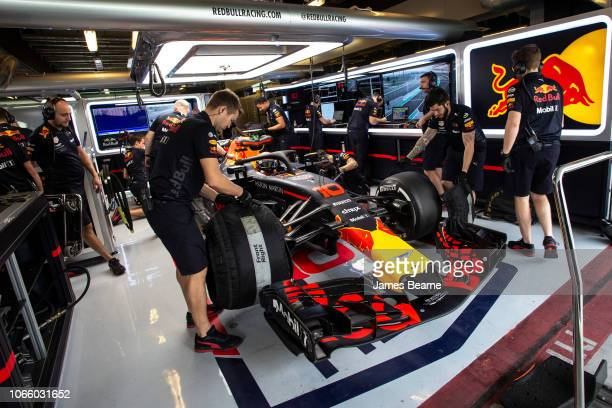 Pierre Gasly of France and Red Bull Racing prepares to drive during day two of F1 End of Season Testing at Yas Marina Circuit on November 28 2018 in...