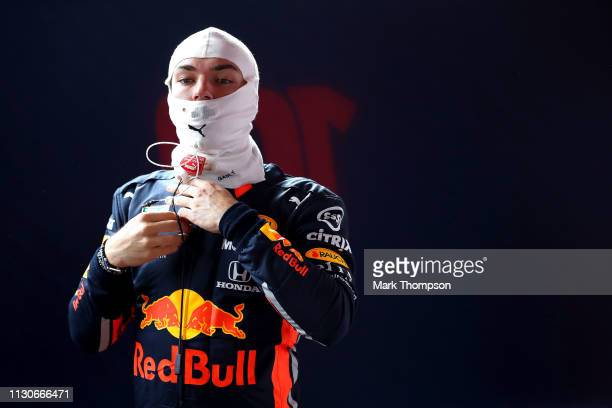 Pierre Gasly of France and Red Bull Racing prepares to drive in the garage during day two of F1 Winter Testing at Circuit de Catalunya on February 19...
