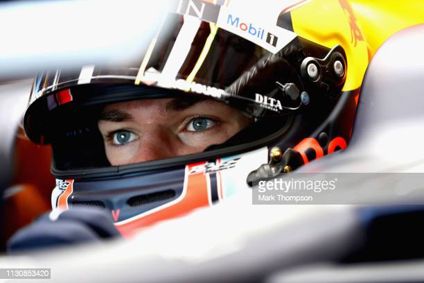 Pierre Gasly of France and Red Bull Racing prepares to drive in the garage during final practice for the F1 Grand Prix of Australia at Melbourne...