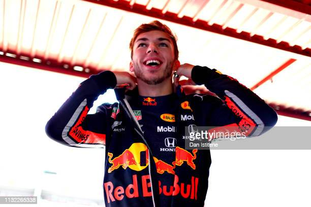 Pierre Gasly of France and Red Bull Racing prepares to drive in the garage during day one of F1 Winter Testing at Circuit de Catalunya on February...