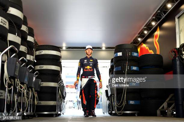 Pierre Gasly of France and Red Bull Racing walks to the garage before final practice for the F1 Grand Prix of France at Circuit Paul Ricard on June...