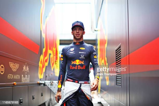 Pierre Gasly of France and Red Bull Racing walks to the garage before practice for the F1 Grand Prix of Hungary at Hungaroring on August 02, 2019 in...