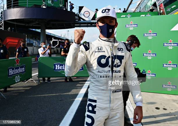 Pierre Gasly of France and Scuderia AlphaTauri celebrates in parc ferme following the F1 Grand Prix of Italy at Autodromo di Monza on September 06,...