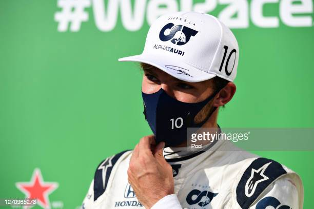 Pierre Gasly of France and Scuderia AlphaTauri is interviewed in parc ferme following the F1 Grand Prix of Italy at Autodromo di Monza on September...
