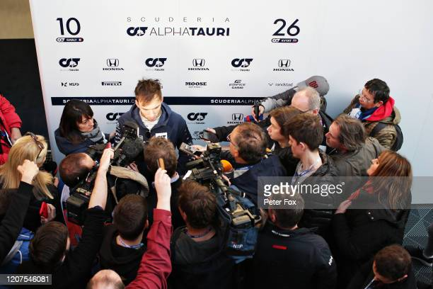 Pierre Gasly of France and Scuderia AlphaTauri talks to the media in the Paddock during day two of F1 Winter Testing at Circuit de BarcelonaCatalunya...