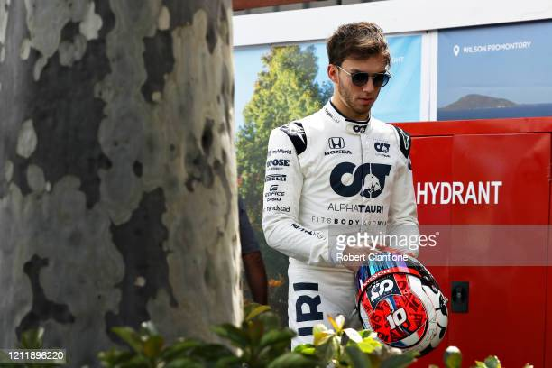 Pierre Gasly of France and Scuderia AlphaTauri walks in the Paddock during previews ahead of the F1 Grand Prix of Australia at Melbourne Grand Prix...