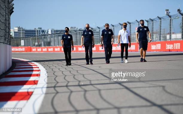 Pierre Gasly of France and Scuderia AlphaTauri walks the track during previews ahead of the F1 Grand Prix of Russia at Sochi Autodrom on September...