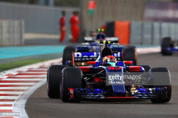 Pierre Gasly of France and Scuderia Toro Rosso drives in the Scuderia Toro Rosso STR12 on track during the Abu Dhabi Formula One Grand Prix at Yas...