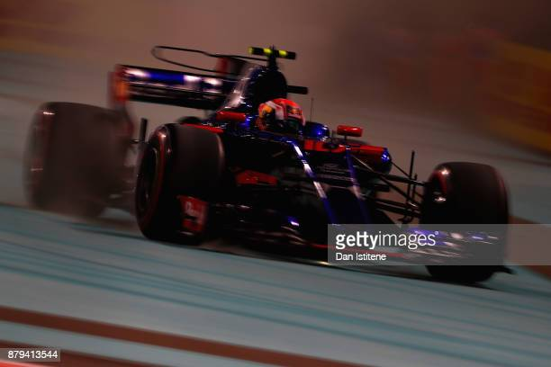 Pierre Gasly of France and Scuderia Toro Rosso drives in the Scuderia Toro Rosso STR12 runs wide during the Abu Dhabi Formula One Grand Prix at Yas...