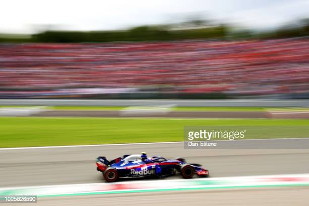 Pierre Gasly of France and Scuderia Toro Rosso driving the Scuderia Toro Rosso STR13 Honda during qualifying for the Formula One Grand Prix of Italy...