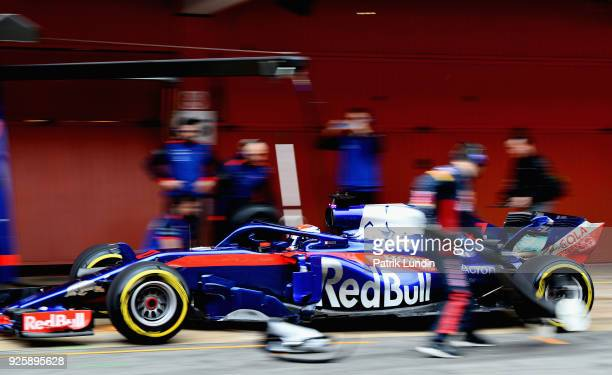 Pierre Gasly of France and Scuderia Toro Rosso driving the Scuderia Toro Rosso STR13 Honda in the Pitlane during day four of F1 Winter Testing at...