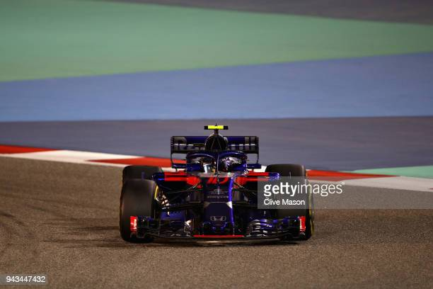 Pierre Gasly of France and Scuderia Toro Rosso driving the Scuderia Toro Rosso STR13 Honda on track during the Bahrain Formula One Grand Prix at...