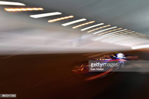 Pierre Gasly of France and Scuderia Toro Rosso driving the Scuderia Toro Rosso STR13 Honda on track during practice for the Monaco Formula One Grand...