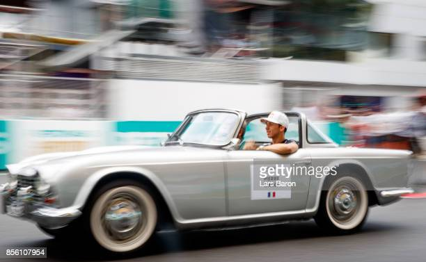 Pierre Gasly of France and Scuderia Toro Rosso on the drivers parade before the Malaysia Formula One Grand Prix at Sepang Circuit on October 1 2017...