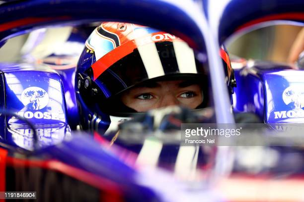 Pierre Gasly of France and Scuderia Toro Rosso prepares to drive during day two of F1 End of Season Testing in Abu Dhabi at Yas Marina Circuit on...