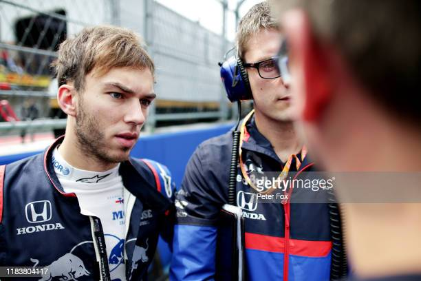 Pierre Gasly of France and Scuderia Toro Rosso prepares to drive on the grid before the F1 Grand Prix of Mexico at Autodromo Hermanos Rodriguez on...