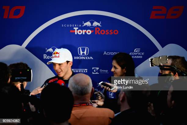 Pierre Gasly of France and Scuderia Toro Rosso talks to the media at the end of day four of F1 Winter Testing at Circuit de Catalunya on March 1 2018...