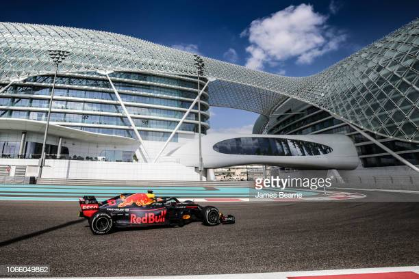 Pierre Gasly of France driving the Aston Martin Red Bull Racing RB14 TAG Heuer on track during day two of F1 End of Season Testing at Yas Marina...