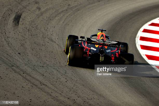 Pierre Gasly of France driving the Aston Martin Red Bull Racing RB15 on track during day one of F1 Winter Testing at Circuit de Catalunya on February...