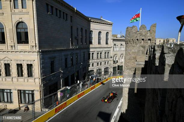Pierre Gasly of France driving the Aston Martin Red Bull Racing RB15 on track during the F1 Grand Prix of Azerbaijan at Baku City Circuit on April 28...