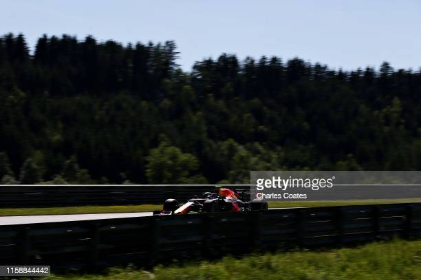 Pierre Gasly of France driving the Aston Martin Red Bull Racing RB15 on track during practice for the F1 Grand Prix of Austria at Red Bull Ring on...