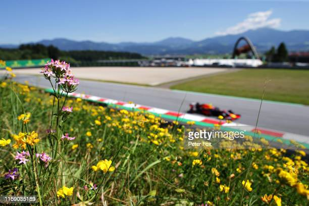 Pierre Gasly of France driving the Aston Martin Red Bull Racing RB15 on track during qualifying for the F1 Grand Prix of Austria at Red Bull Ring on...