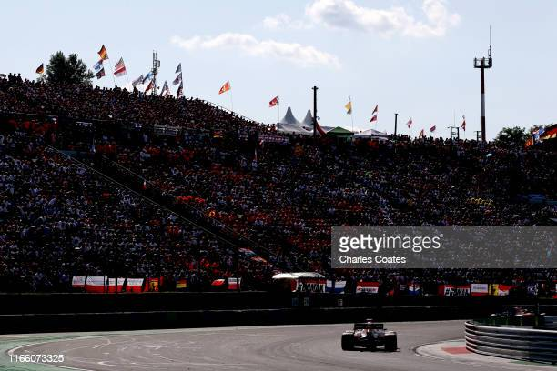 Pierre Gasly of France driving the Aston Martin Red Bull Racing RB15 on track during the F1 Grand Prix of Hungary at Hungaroring on August 04 2019 in...